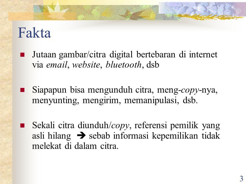 3 Fakta Jutaan gambar/citra digital bertebaran di internet via email, website, bluetooth, dsb Siapapun bisa mengunduh citra, meng-copy-nya, menyunting, mengirim, memanipulasi, dsb.