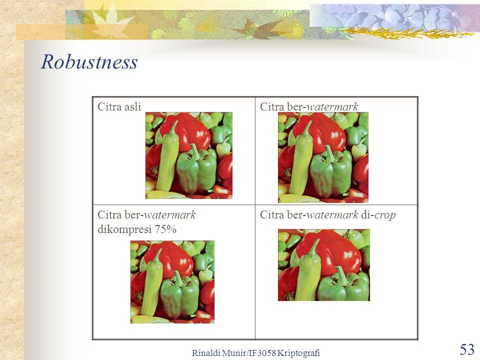 Rinaldi Munir/IF3058 Kriptografi 53 Robustness Citra asliCitra ber-watermark Citra ber-watermark dikompresi 75% Citra ber-watermark di-crop