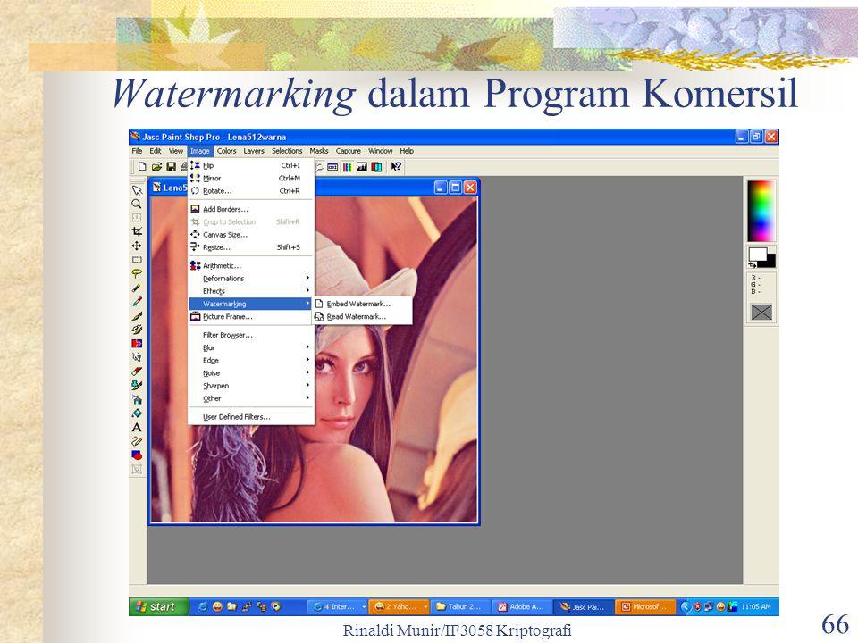Rinaldi Munir/IF3058 Kriptografi 66 Watermarking dalam Program Komersil