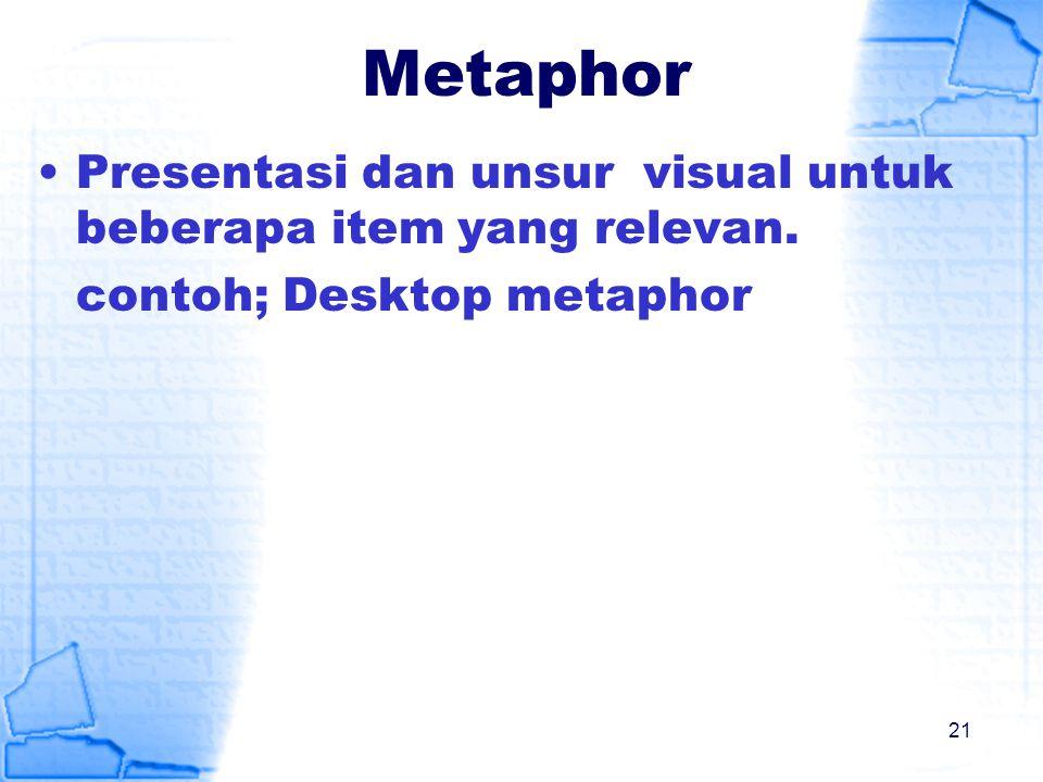 Metaphor Presentasi dan unsur visual untuk beberapa item yang relevan. contoh; Desktop metaphor 21