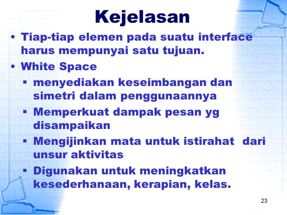 Kejelasan Tiap-tiap elemen pada suatu interface harus mempunyai satu tujuan. White Space  menyediakan keseimbangan dan simetri dalam penggunaannya 