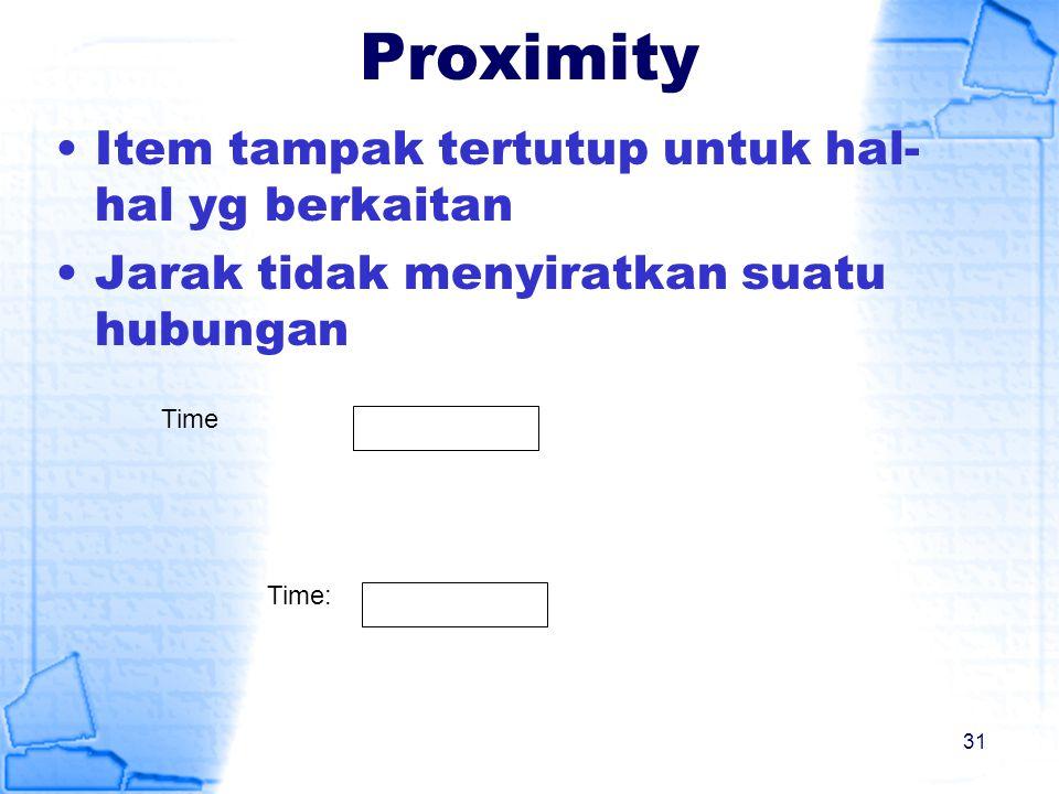 Proximity Item tampak tertutup untuk hal- hal yg berkaitan Jarak tidak menyiratkan suatu hubungan Time: Time 31