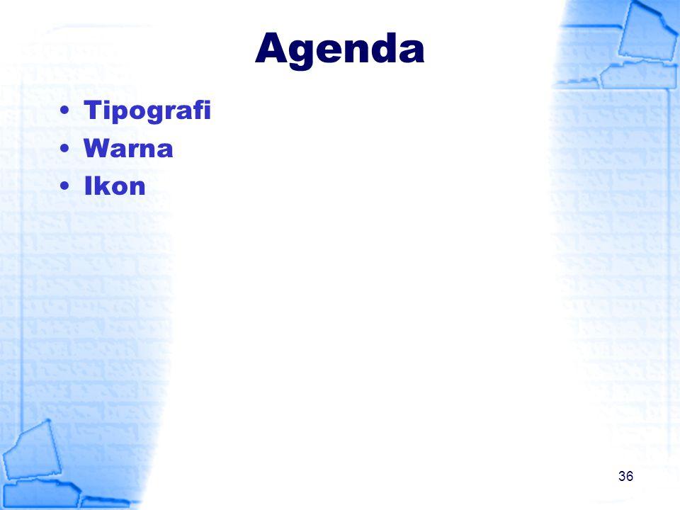 Agenda Tipografi Warna Ikon 36