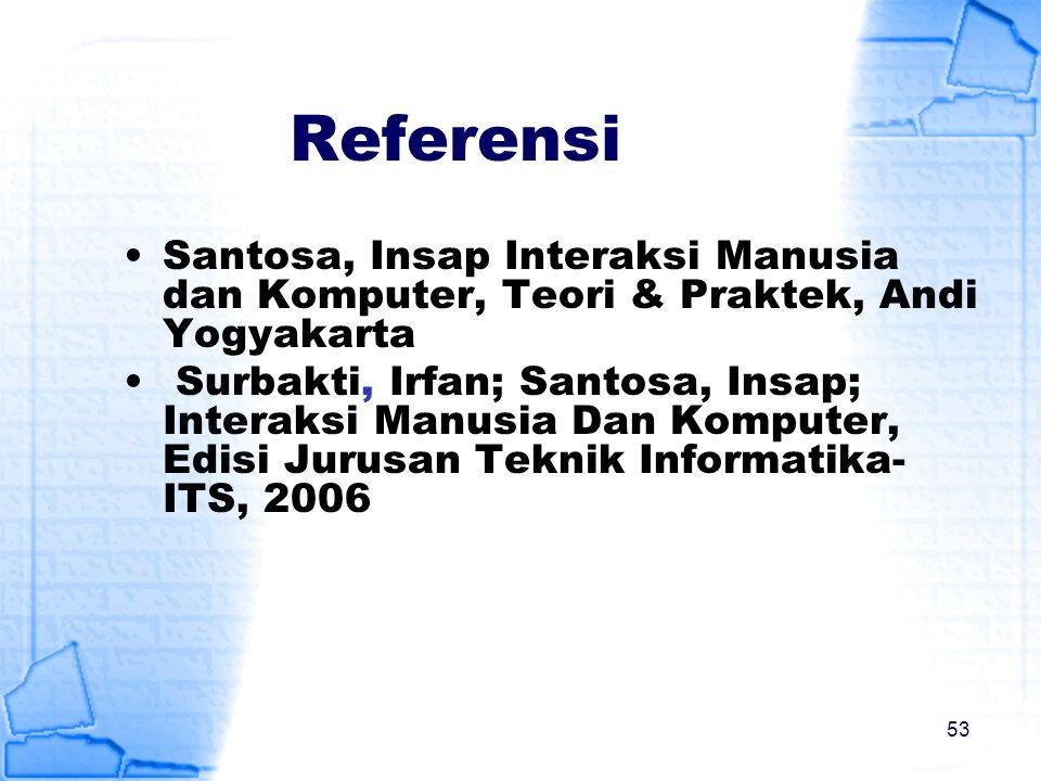 Referensi Santosa, Insap Interaksi Manusia dan Komputer, Teori & Praktek, Andi Yogyakarta Surbakti, Irfan; Santosa, Insap; Interaksi Manusia Dan Kompu
