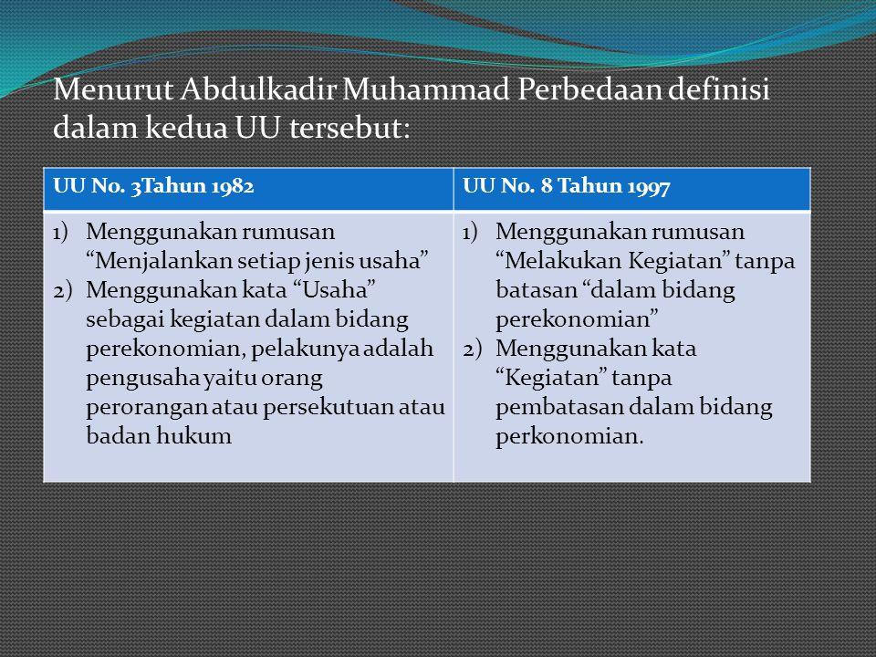 """Menurut Abdulkadir Muhammad Perbedaan definisi dalam kedua UU tersebut: UU No. 3Tahun 1982UU No. 8 Tahun 1997 1)Menggunakan rumusan """"Menjalankan setia"""