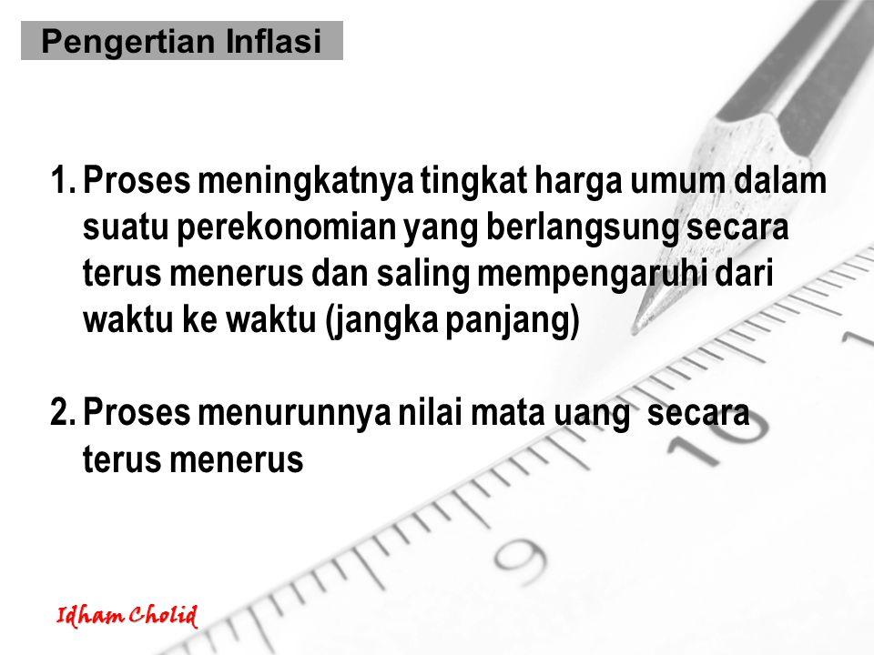 Pengertian Inflasi 1.Proses meningkatnya tingkat harga umum dalam suatu perekonomian yang berlangsung secara terus menerus dan saling mempengaruhi dar
