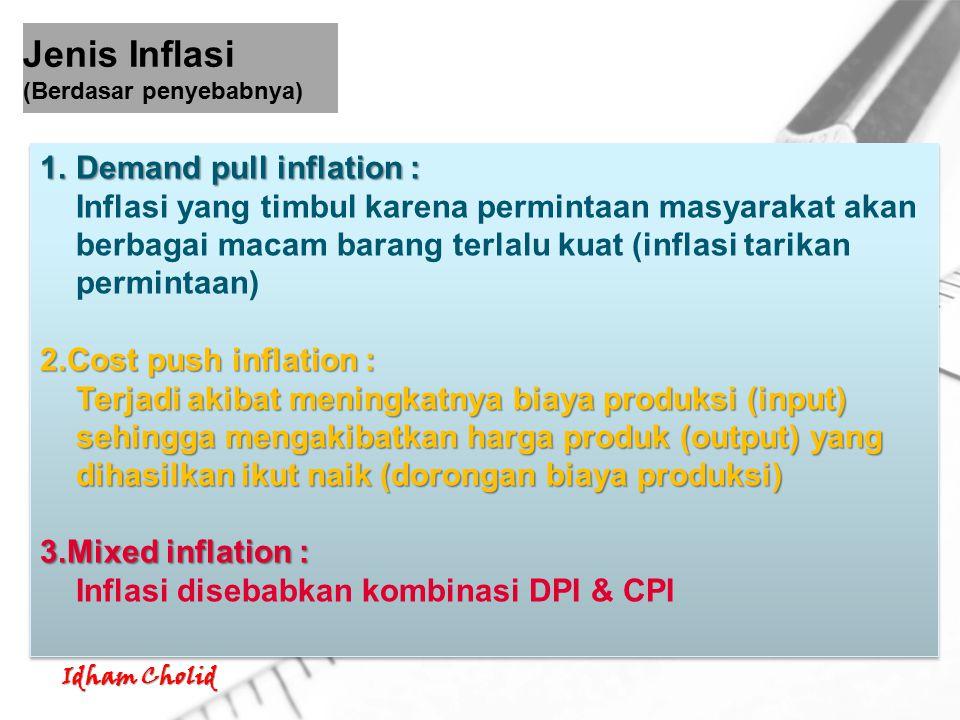 Idham Cholid 1.Demand pull inflation : Inflasi yang timbul karena permintaan masyarakat akan berbagai macam barang terlalu kuat (inflasi tarikan permi