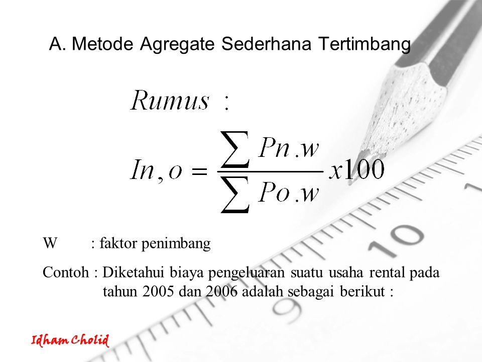 Idham Cholid A. Metode Agregate Sederhana Tertimbang W: faktor penimbang Contoh : Diketahui biaya pengeluaran suatu usaha rental pada tahun 2005 dan 2