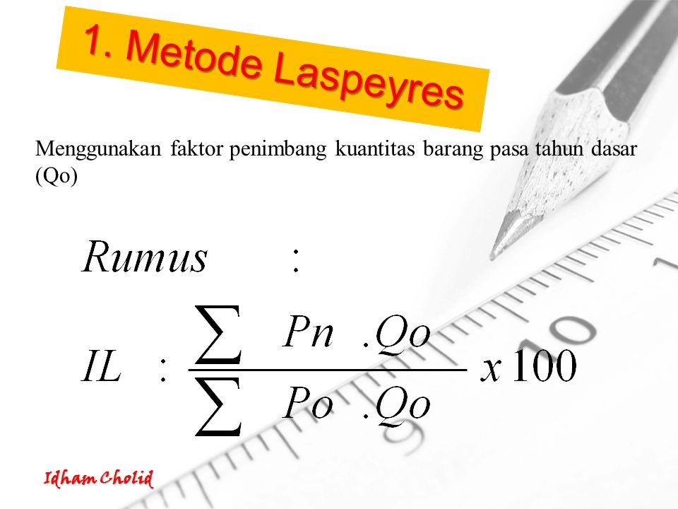 Idham Cholid Menggunakan faktor penimbang kuantitas barang pasa tahun dasar (Qo) 1. Metode Laspeyres