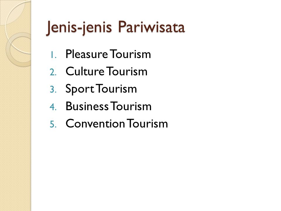 Jenis-jenis Pariwisata 1. Pleasure Tourism 2. Culture Tourism 3. Sport Tourism 4. Business Tourism 5. Convention Tourism