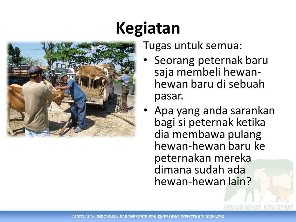 AUSTRALIA INDONESIA PARTNERSHIP FOR EMERGING INFECTIOUS DISEASES Kegiatan Tugas untuk semua: Seorang peternak baru saja membeli hewan- hewan baru di s
