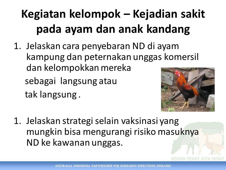 AUSTRALIA INDONESIA PARTNERSHIP FOR EMERGING INFECTIOUS DISEASES Kegiatan kelompok – Kejadian sakit pada ayam dan anak kandang 1.Jelaskan cara penyebaran ND di ayam kampung dan peternakan unggas komersil dan kelompokkan mereka sebagai langsung atau tak langsung.