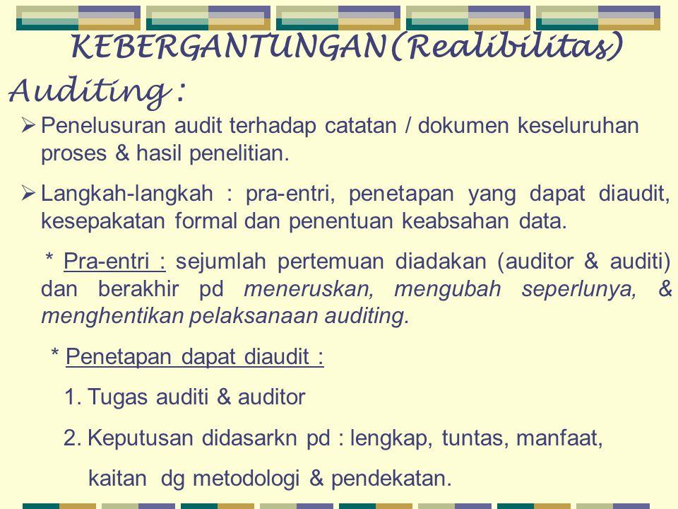 Auditing :  Penelusuran audit terhadap catatan / dokumen keseluruhan proses & hasil penelitian.  Langkah-langkah : pra-entri, penetapan yang dapat d