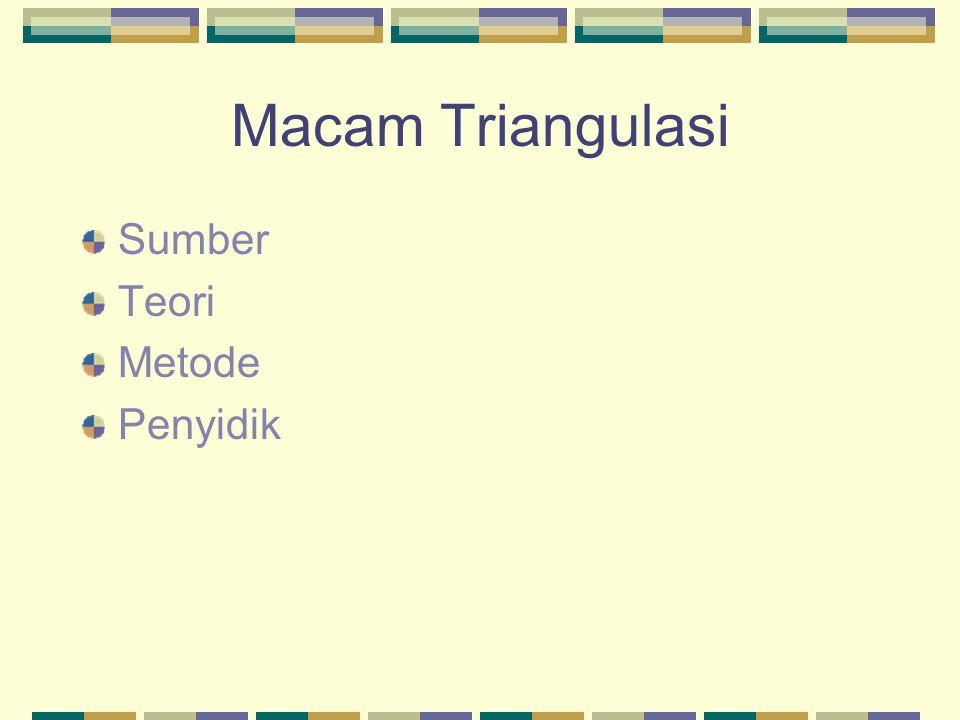 Macam Triangulasi Sumber Teori Metode Penyidik