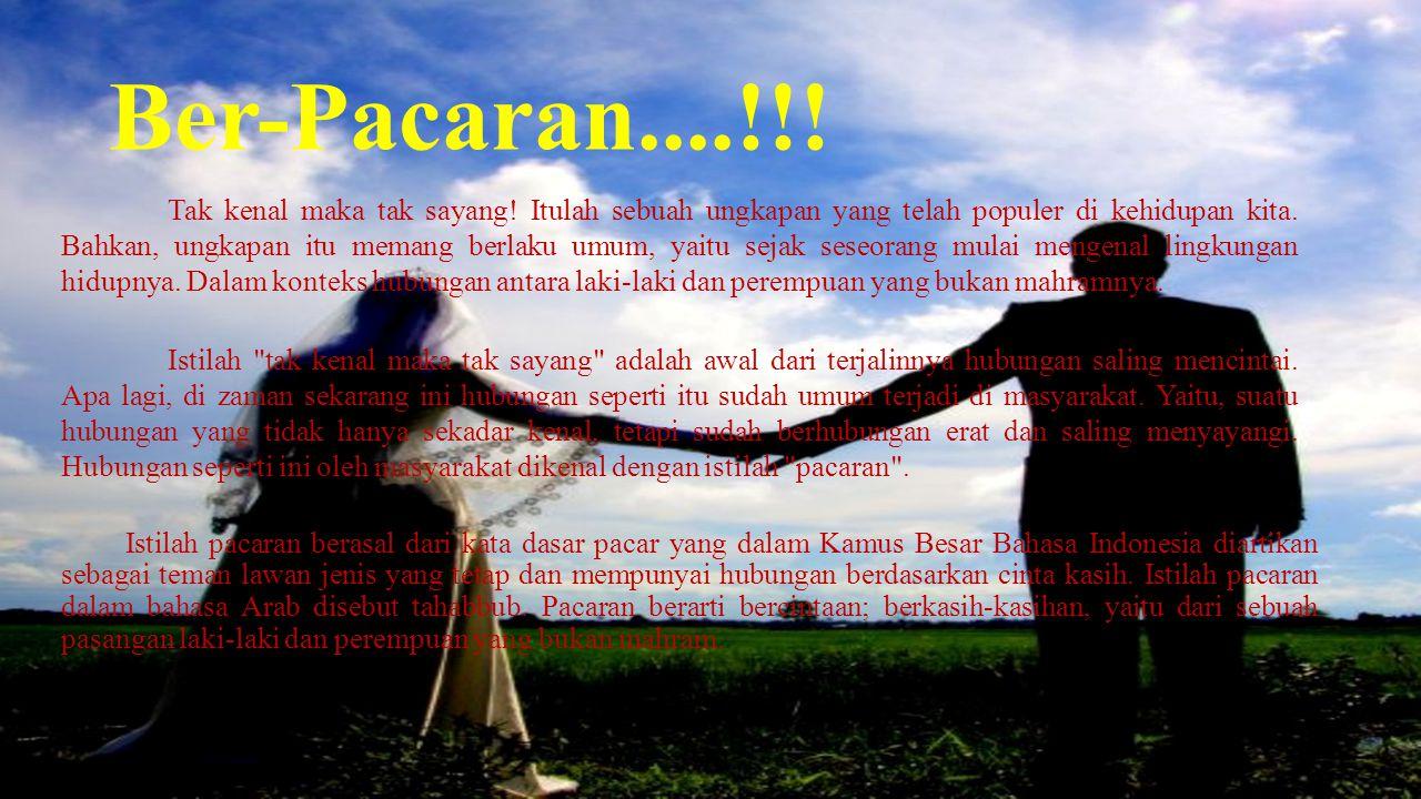 Ber-Pacaran....!!! Istilah pacaran berasal dari kata dasar pacar yang dalam Kamus Besar Bahasa Indonesia diartikan sebagai teman lawan jenis yang teta