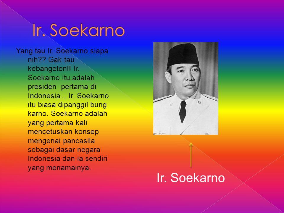 Yang tau Ir. Soekarno siapa nih?? Gak tau kebangeten!! Ir. Soekarno itu adalah presiden pertama di Indonesia... Ir. Soekarno itu biasa dipanggil bung