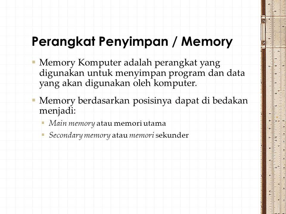  Memory Komputer adalah perangkat yang digunakan untuk menyimpan program dan data yang akan digunakan oleh komputer.