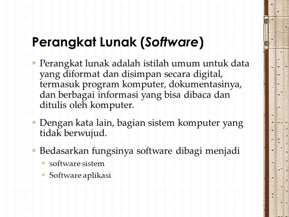  Perangkat lunak adalah istilah umum untuk data yang diformat dan disimpan secara digital, termasuk program komputer, dokumentasinya, dan berbagai informasi yang bisa dibaca dan ditulis oleh komputer.