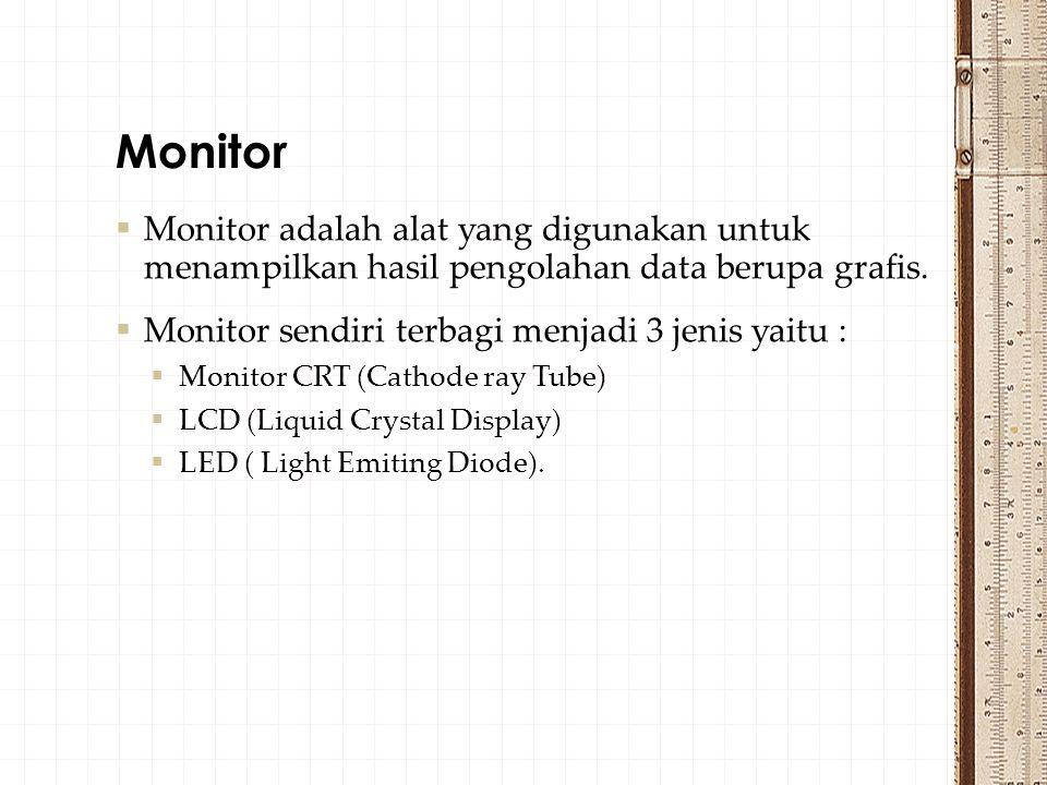  Monitor adalah alat yang digunakan untuk menampilkan hasil pengolahan data berupa grafis.