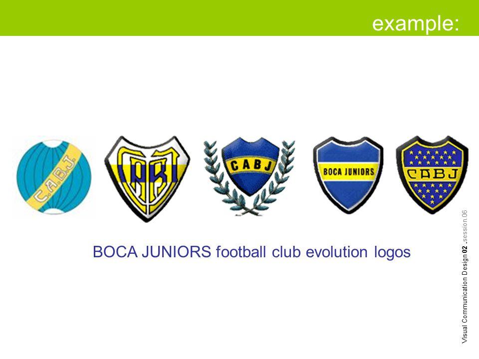 BOCA JUNIORS football club evolution logos example: Visual Communication Design 02.session.06