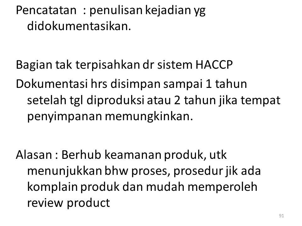 Pencatatan : penulisan kejadian yg didokumentasikan. Bagian tak terpisahkan dr sistem HACCP Dokumentasi hrs disimpan sampai 1 tahun setelah tgl diprod
