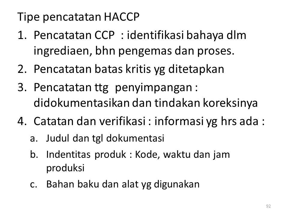 Tipe pencatatan HACCP 1.Pencatatan CCP : identifikasi bahaya dlm ingrediaen, bhn pengemas dan proses. 2.Pencatatan batas kritis yg ditetapkan 3.Pencat