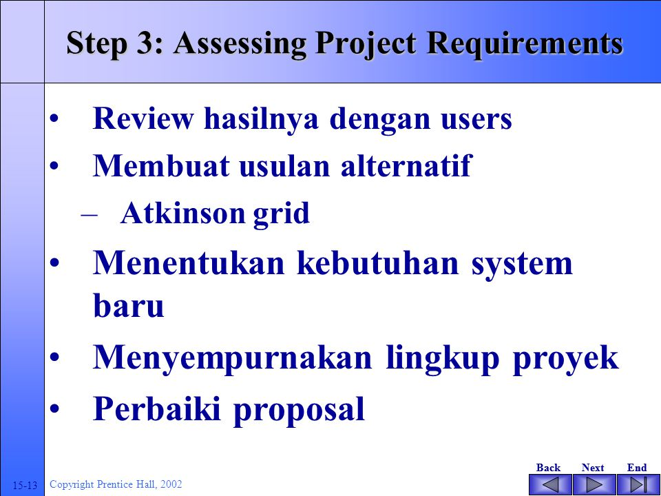 BackNextEndBackNextEnd 15-13 Copyright Prentice Hall, 2002 Step 3: Assessing Project Requirements Review hasilnya dengan users Membuat usulan alternatif –Atkinson grid Menentukan kebutuhan system baru Menyempurnakan lingkup proyek Perbaiki proposal