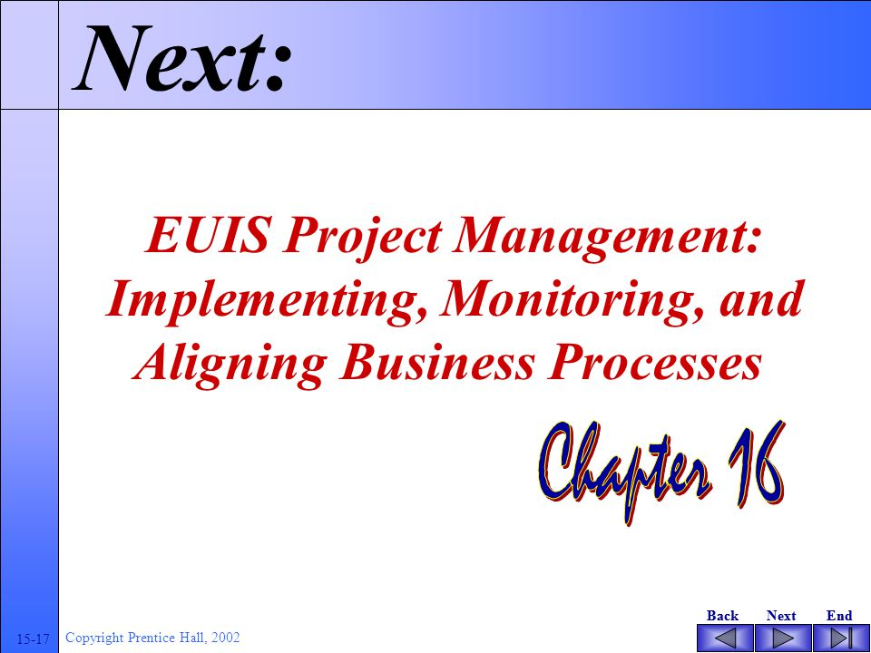 BackNextEndBackNextEnd 15-17 Copyright Prentice Hall, 2002 Next: EUIS Project Management: Implementing, Monitoring, and Aligning Business Processes