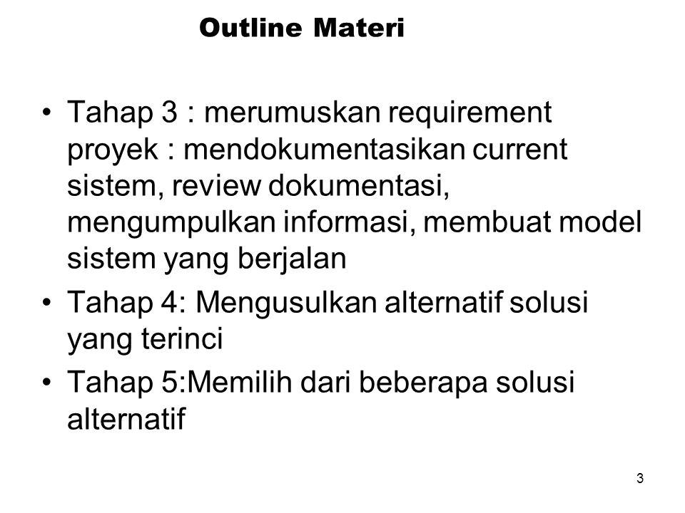 3 Outline Materi Tahap 3 : merumuskan requirement proyek : mendokumentasikan current sistem, review dokumentasi, mengumpulkan informasi, membuat model sistem yang berjalan Tahap 4: Mengusulkan alternatif solusi yang terinci Tahap 5:Memilih dari beberapa solusi alternatif