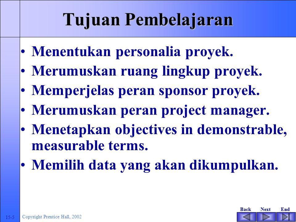 BackNextEndBackNextEnd 15-5 Copyright Prentice Hall, 2002 Tujuan Pembelajaran Menentukan personalia proyek.