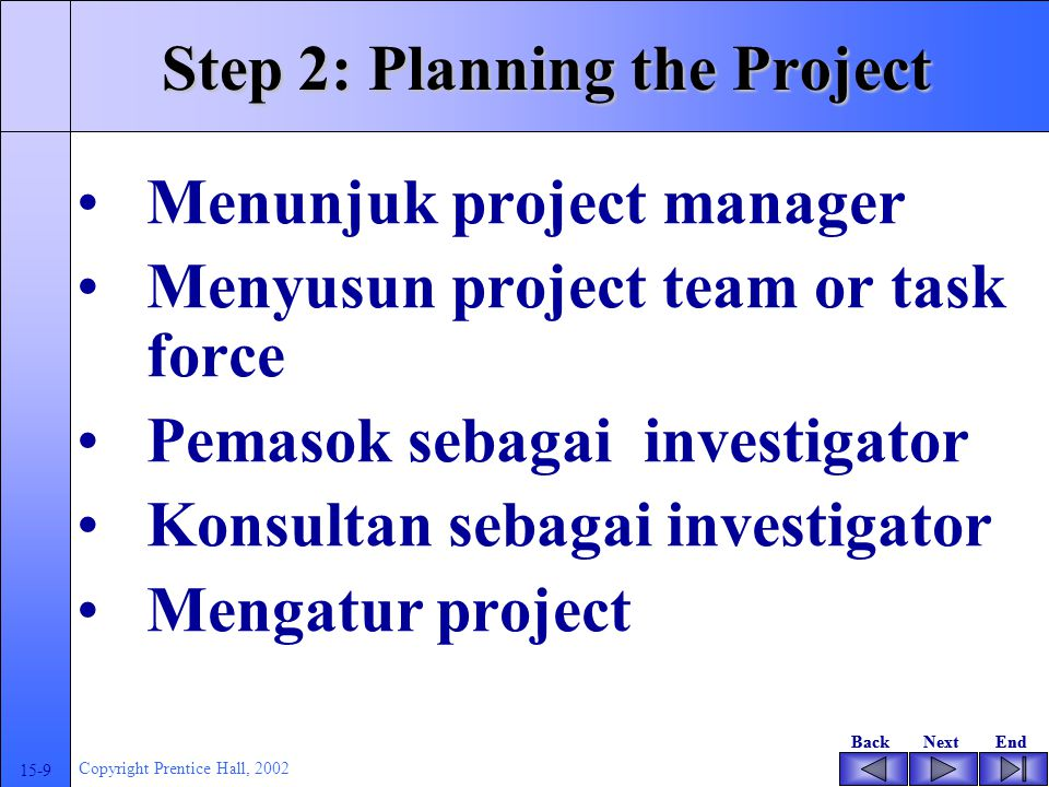 BackNextEndBackNextEnd 15-9 Copyright Prentice Hall, 2002 Step 2: Planning the Project Menunjuk project manager Menyusun project team or task force Pemasok sebagai investigator Konsultan sebagai investigator Mengatur project