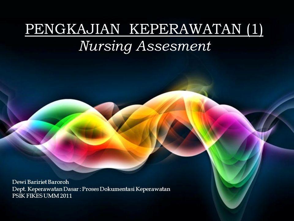 Free Powerpoint Templates Page 1 Free Powerpoint Templates PENGKAJIAN KEPERAWATAN (1) Nursing Assesment Dewi Baririet Baroroh Dept.