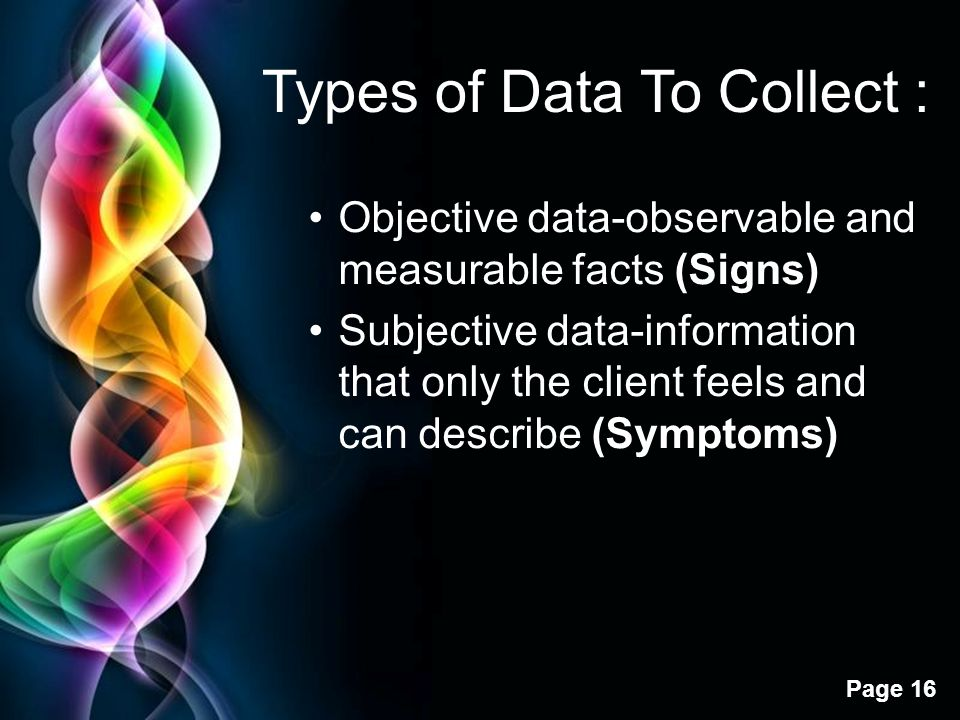 Free Powerpoint Templates Page 16 Types of Data To Collect : Objective data-observable and measurable facts (Signs) Subjective data-information that o