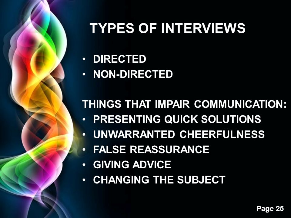 Free Powerpoint Templates Page 25 TYPES OF INTERVIEWS DIRECTED NON-DIRECTED THINGS THAT IMPAIR COMMUNICATION: PRESENTING QUICK SOLUTIONS UNWARRANTED C