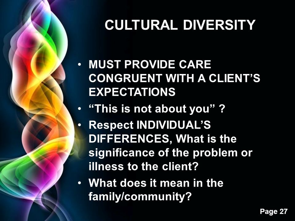 "Free Powerpoint Templates Page 27 CULTURAL DIVERSITY MUST PROVIDE CARE CONGRUENT WITH A CLIENT'S EXPECTATIONS ""This is not about you"" ? Respect INDIVI"