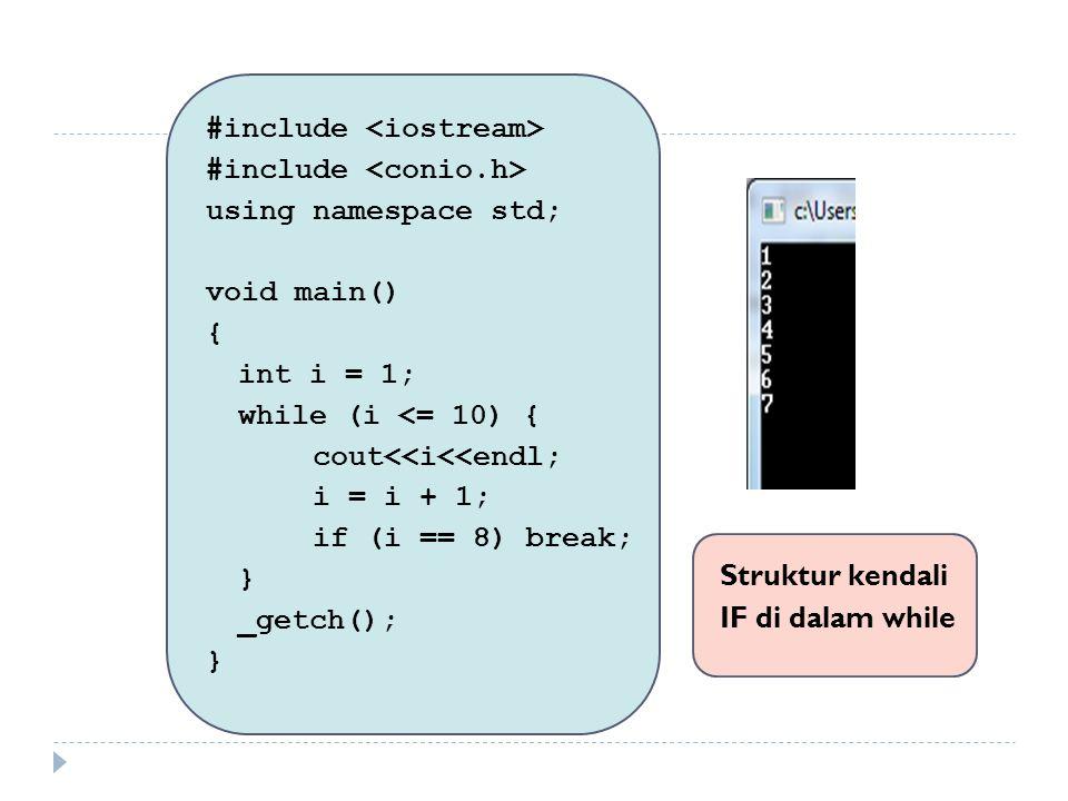 Contoh Soal : Buatlah bagan alir untuk input bilangan integer secara terus menerus selama yang di input bukan 0.