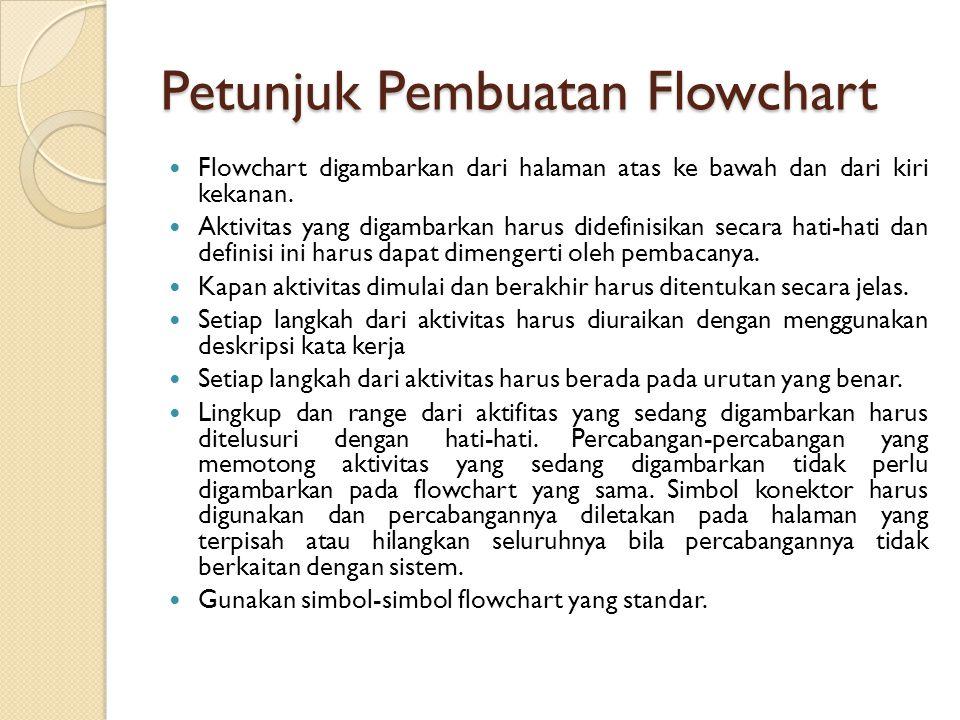 Petunjuk Pembuatan Flowchart Flowchart digambarkan dari halaman atas ke bawah dan dari kiri kekanan.
