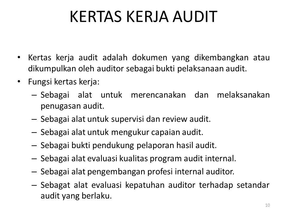 KERTAS KERJA AUDIT Kertas kerja audit adalah dokumen yang dikembangkan atau dikumpulkan oleh auditor sebagai bukti pelaksanaan audit.