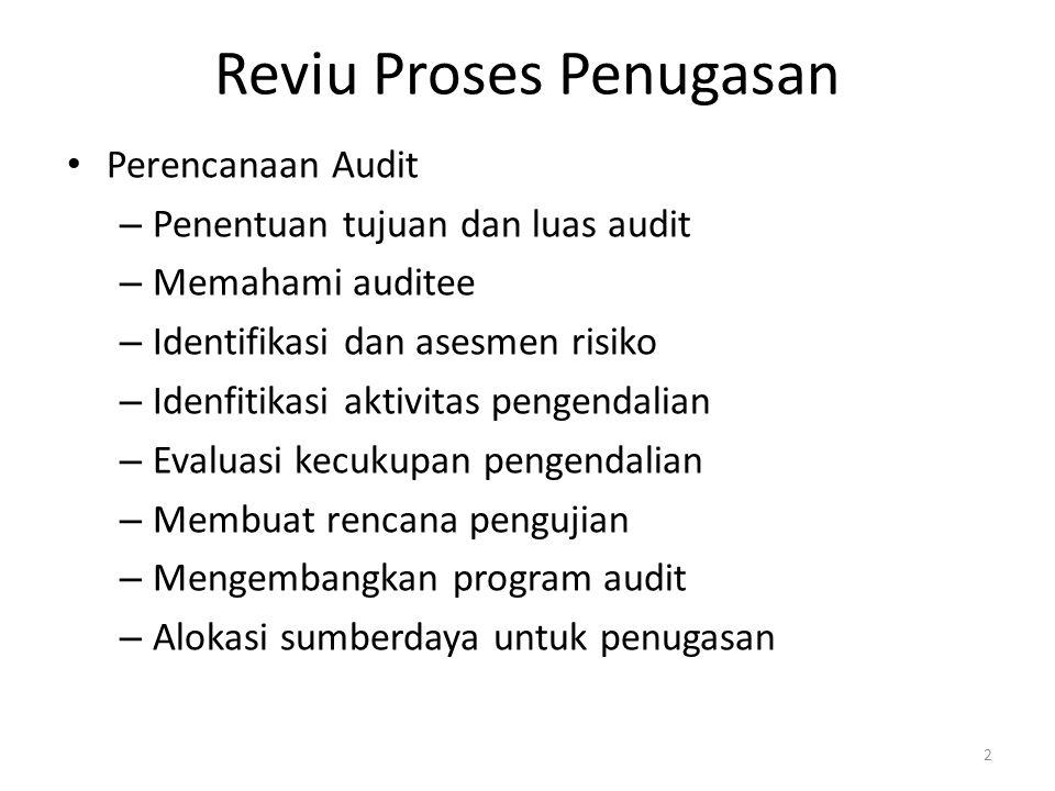 Reviu Proses Penugasan Perencanaan Audit – Penentuan tujuan dan luas audit – Memahami auditee – Identifikasi dan asesmen risiko – Idenfitikasi aktivitas pengendalian – Evaluasi kecukupan pengendalian – Membuat rencana pengujian – Mengembangkan program audit – Alokasi sumberdaya untuk penugasan 2