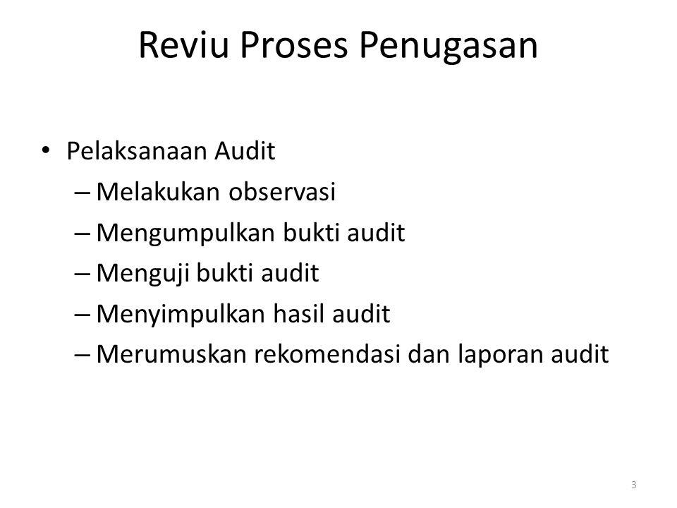 Reviu Proses Penugasan Pelaksanaan Audit – Melakukan observasi – Mengumpulkan bukti audit – Menguji bukti audit – Menyimpulkan hasil audit – Merumuskan rekomendasi dan laporan audit 3