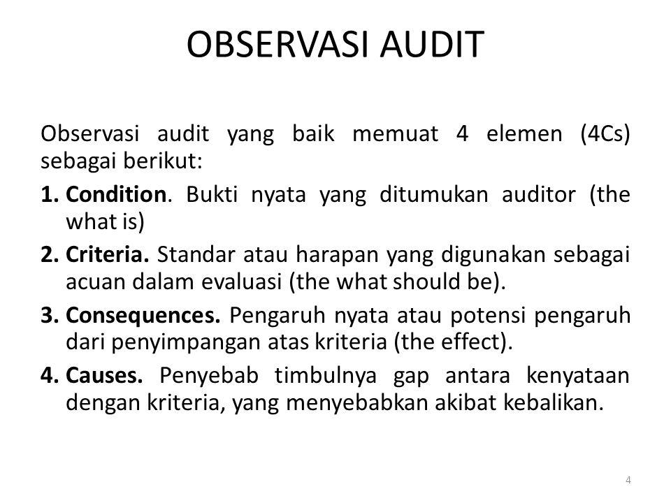 OBSERVASI AUDIT Observasi audit yang baik memuat 4 elemen (4Cs) sebagai berikut: 1.Condition.