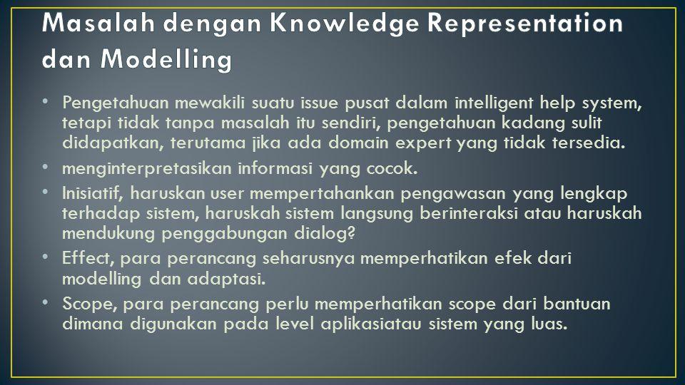 Pengetahuan mewakili suatu issue pusat dalam intelligent help system, tetapi tidak tanpa masalah itu sendiri, pengetahuan kadang sulit didapatkan, ter
