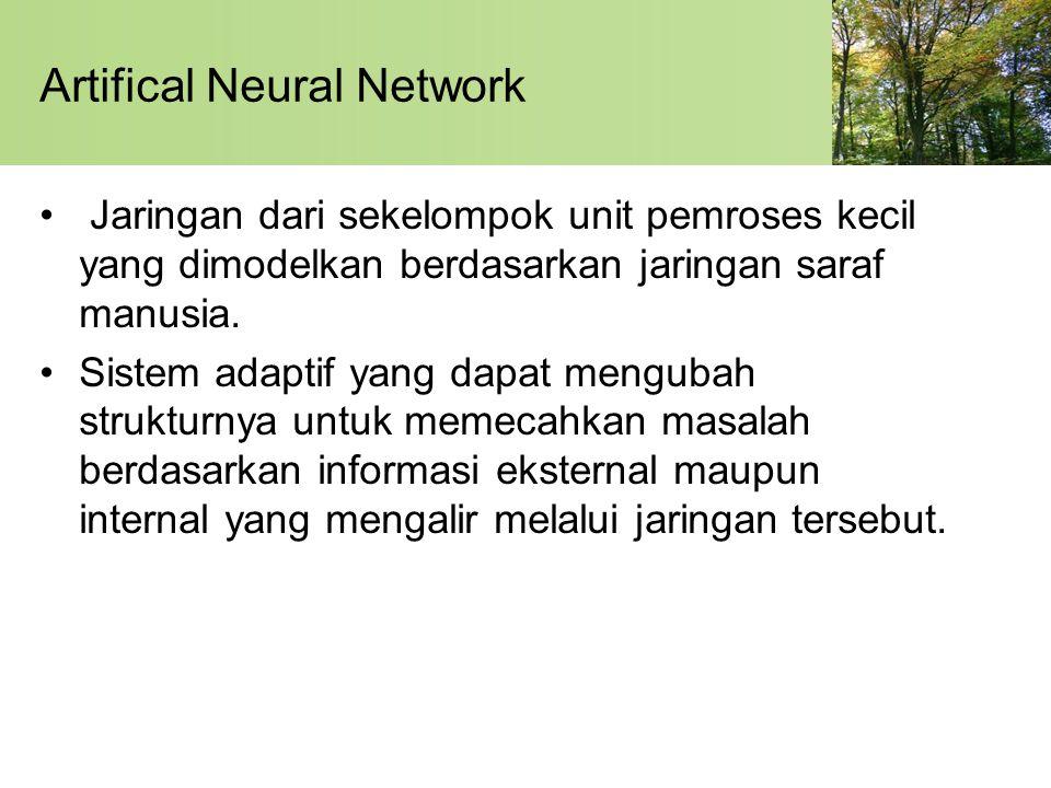 Artifical Neural Network Jaringan dari sekelompok unit pemroses kecil yang dimodelkan berdasarkan jaringan saraf manusia. Sistem adaptif yang dapat me