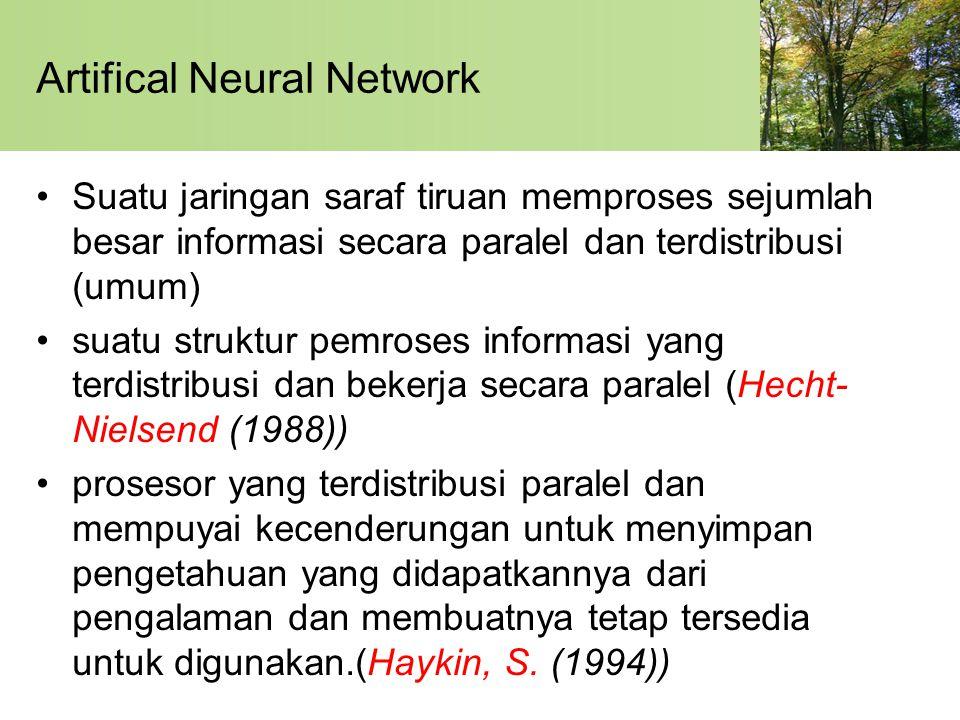 Artifical Neural Network Suatu jaringan saraf tiruan memproses sejumlah besar informasi secara paralel dan terdistribusi (umum) suatu struktur pemroses informasi yang terdistribusi dan bekerja secara paralel (Hecht- Nielsend (1988)) prosesor yang terdistribusi paralel dan mempuyai kecenderungan untuk menyimpan pengetahuan yang didapatkannya dari pengalaman dan membuatnya tetap tersedia untuk digunakan.(Haykin, S.