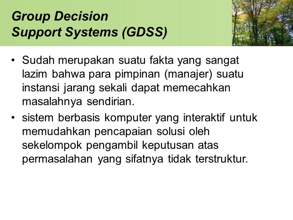 Group Decision Support Systems (GDSS) Sudah merupakan suatu fakta yang sangat lazim bahwa para pimpinan (manajer) suatu instansi jarang sekali dapat m