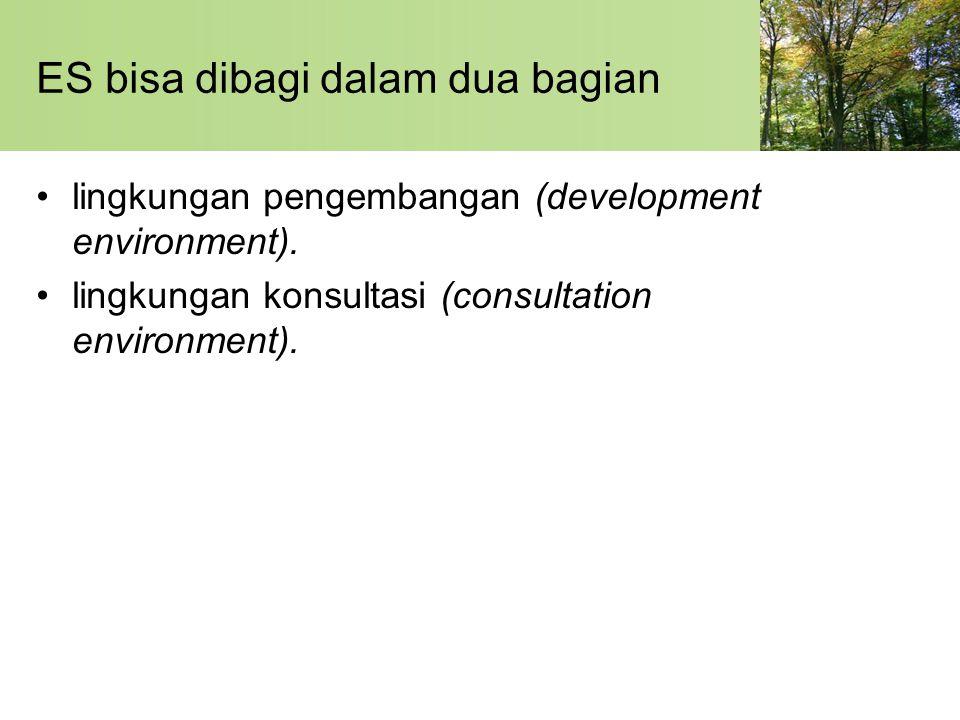 ES bisa dibagi dalam dua bagian lingkungan pengembangan (development environment). lingkungan konsultasi (consultation environment).