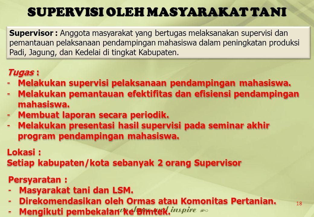 SUPERVISI OLEH MASYARAKAT TANI 18 Tugas : -Melakukan supervisi pelaksanaan pendampingan mahasiswa. -Melakukan pemantauan efektifitas dan efisiensi pen