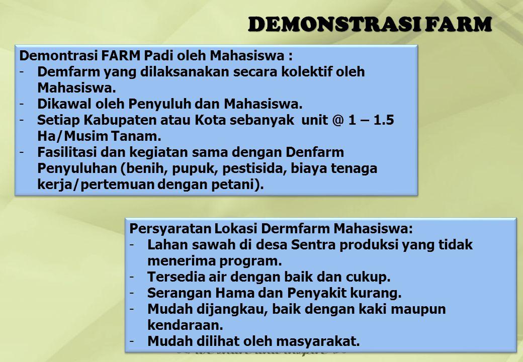 DEMONSTRASI FARM 20 Demontrasi FARM Padi oleh Mahasiswa : -Demfarm yang dilaksanakan secara kolektif oleh Mahasiswa. -Dikawal oleh Penyuluh dan Mahasi