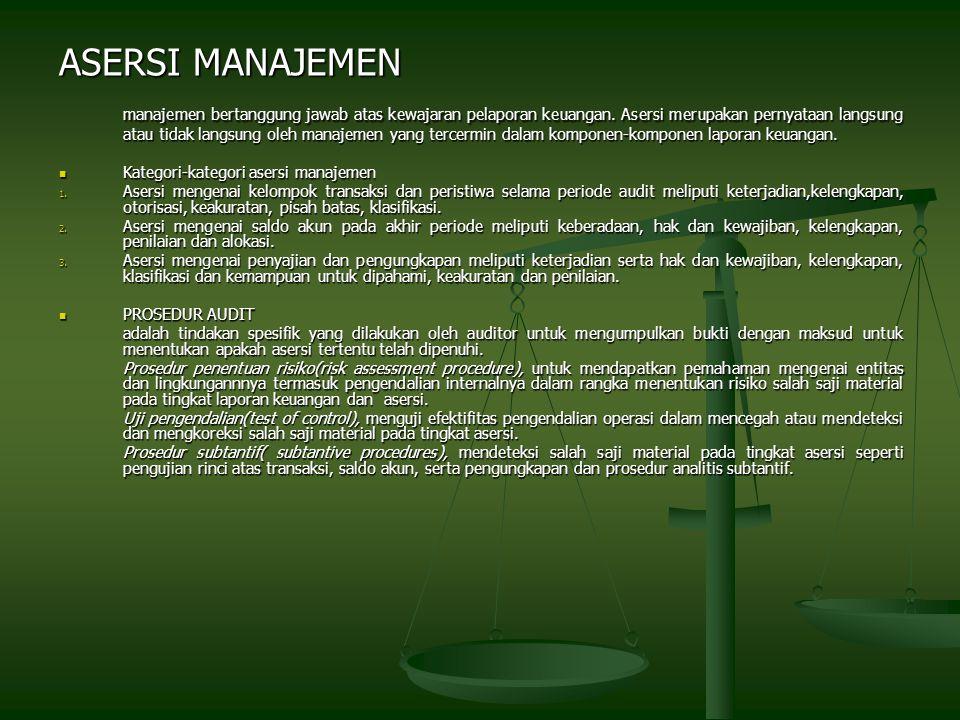ASERSI MANAJEMEN manajemen bertanggung jawab atas kewajaran pelaporan keuangan.