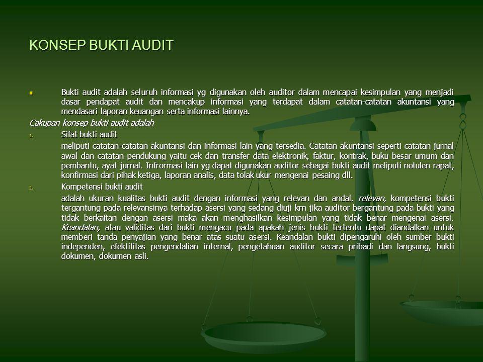 KONSEP BUKTI AUDIT Bukti audit adalah seluruh informasi yg digunakan oleh auditor dalam mencapai kesimpulan yang menjadi dasar pendapat audit dan mencakup informasi yang terdapat dalam catatan-catatan akuntansi yang mendasari laporan keuangan serta informasi lainnya.